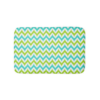 White, Green and Turquoise Zigzag Ikat Pattern Bath Mat