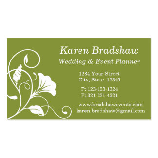 White & Green Floral Wedding Planner Business Card