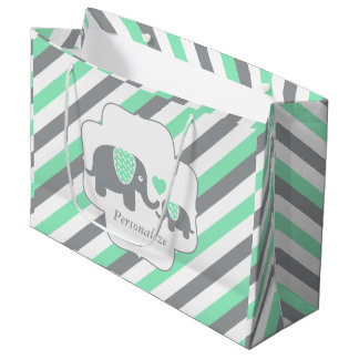 White, Green & Gray Stripe Elephants Baby Shower Large Gift Bag