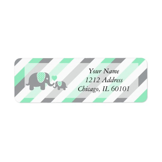 White, Green & Grey Stripe Elephants Baby Shower