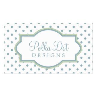White Green & Lt. Blue Polka Dot Business Cards