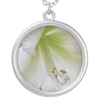 White Green Round Sterling Silver-Plated Necklace