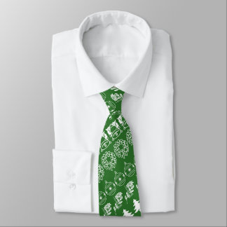 White/Green Rows Christmas Font Art Pattern Tie