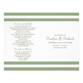 White Green Stripes Custom Wedding Programs Flyer