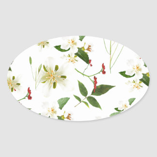 WHITE GREEN WHIMSY FLORALS SHABBY CHIC OVAL STICKER