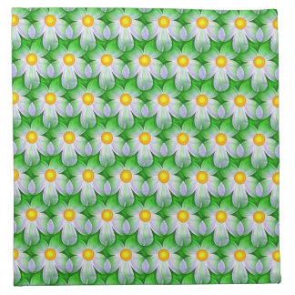 White, Green & Yellow Floral Cloth Napkin
