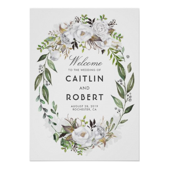 White Greenery Floral Romantic Wedding Welcome Poster