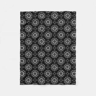 White Grey Black Paisley Pattern Throw Pillow Fleece Blanket