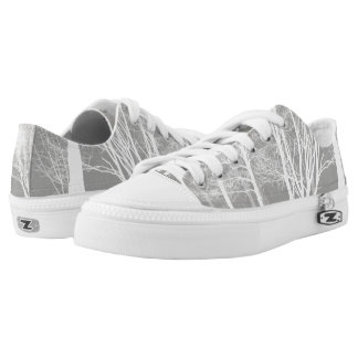 White & Grey Forest Design - Low-Top Sneakers