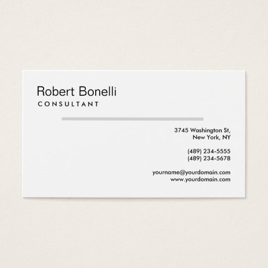 White Grey Line Modern Consultant Business Card