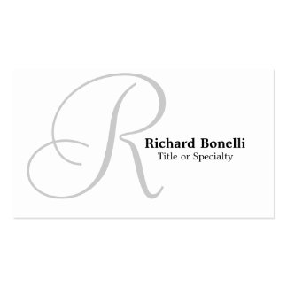 White Grey Monogram Consultant Business Card