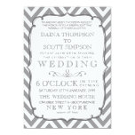 White Grey Neutral Alloy Chevron Stripes Wedding 13 Cm X 18 Cm Invitation Card
