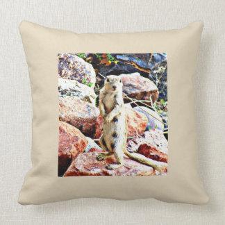 White Ground Squirrel Polyester Throw Pillow
