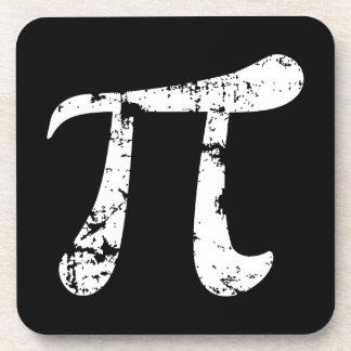 White Grunge Pi Symbol Coaster