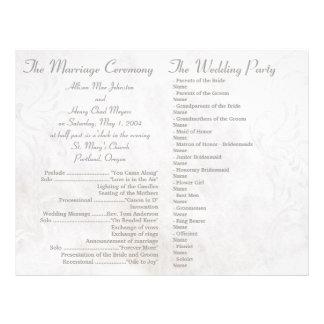White grunge wedding programs 21.5 cm x 28 cm flyer