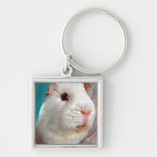 white guinea pig Silver-Colored square key ring