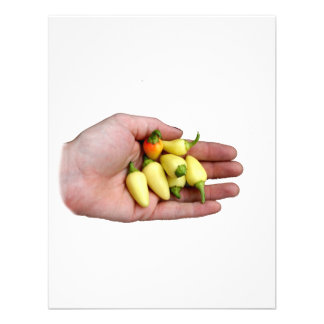 White Habanero Hot Peppers and Hand Photograp Personalized Announcement