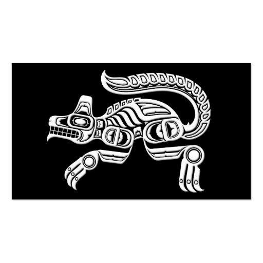 White Haida Spirit Wolf on Black Business Cards