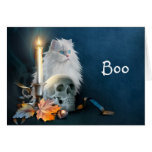 White Halloween cat Cards