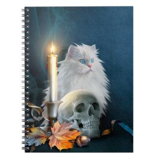 White Halloween cat Spiral Notebook