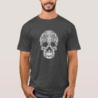 White Halloween Vintage Floral Sugar Skull T-Shirt