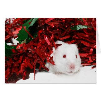 White hamster Christmas Card