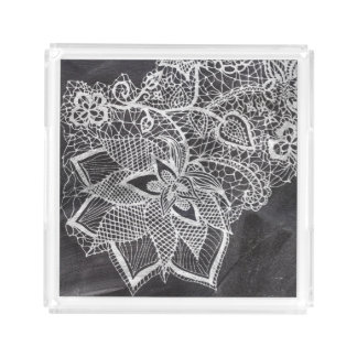 White hand drawn floral lace black chalkboard acrylic tray