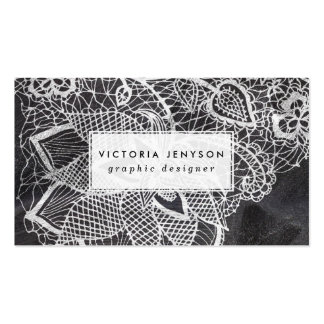 White hand drawn floral lace black chalkboard pack of standard business cards