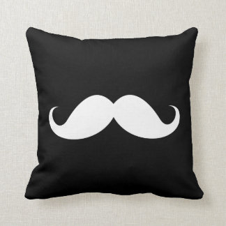 White handlebar mustache on black background cushion