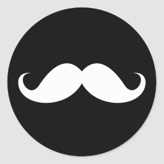 White handlebar mustache on black background round sticker