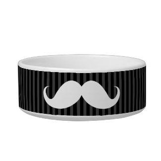 White handlebar mustache on gray black stripes bowl