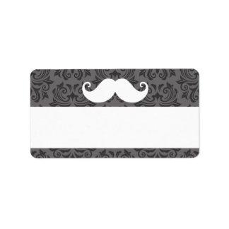 White handlebar mustache on gray damask pattern address label