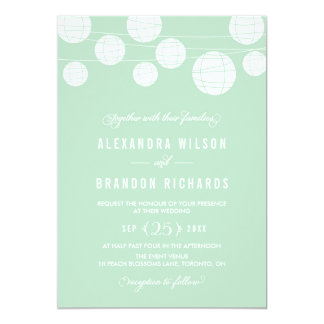 White Hanging Lanterns Mint Wedding Invitation