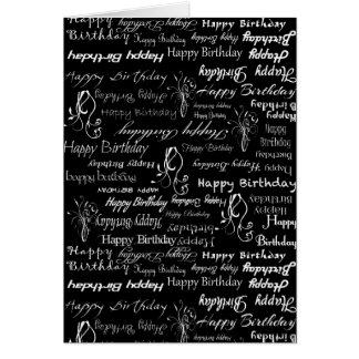 White Happy Birthday Wishes on Black Print Greeting Cards