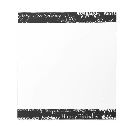 White Happy Birthday Wishes on Black Print Memo Note Pad