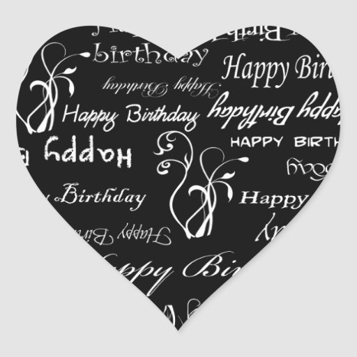 White Happy Birthday Wishes on Black Print Stickers
