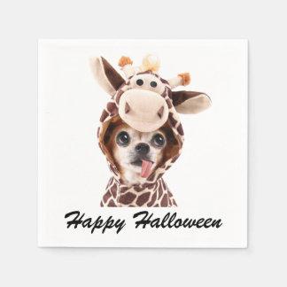 White Happy Halloween Chihuahua Paper Napkins Disposable Serviette