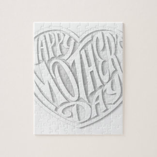 White Happy Mothers Day Heart Puzzles