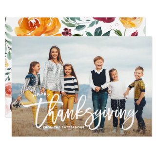White Happy Thanksgiving Hand Lettering Photo Card