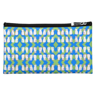 White Harlequin Cats Blue & Green Cosmetic Bag