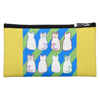 White Harlequin Cats Blue & Green on Yellow Makeup Bag
