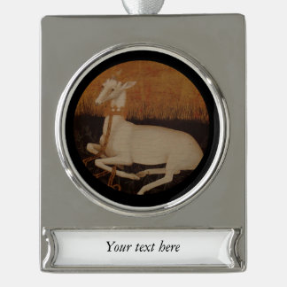 White Hart Stag on Golden Background Silver Plated Banner Ornament