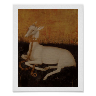 White Hart Stag on Golden Background Poster