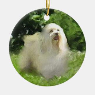 White Havanese on Porcelain Holiday Ornament