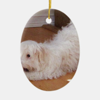 White Havanese Puppy Playing with Red Ball Christmas Ornament