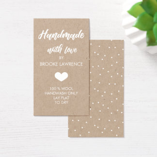White Heart Handmade with Love Kraft Paper Business Card
