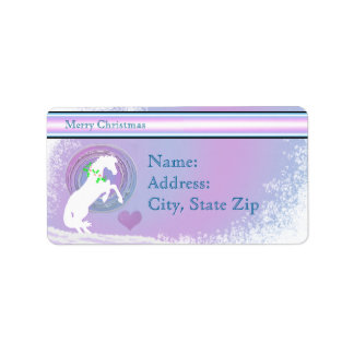 White Heart Horses V Holiday (Pink/Lav Swirl) Address Label