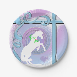 White Heart Horses V Holiday (Pink/Lav Swirl/Wind) 7 Inch Paper Plate