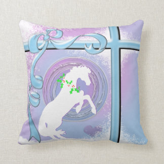 White Heart Horses V Holiday (Pink/Lav Swirl/Wind) Throw Cushion
