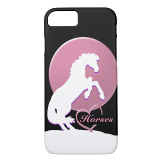 White Heart Horses V (pink) iPhone 7 Case